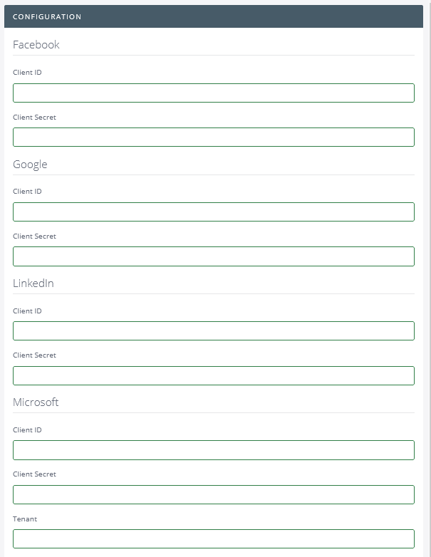 OAuth Configuration Page