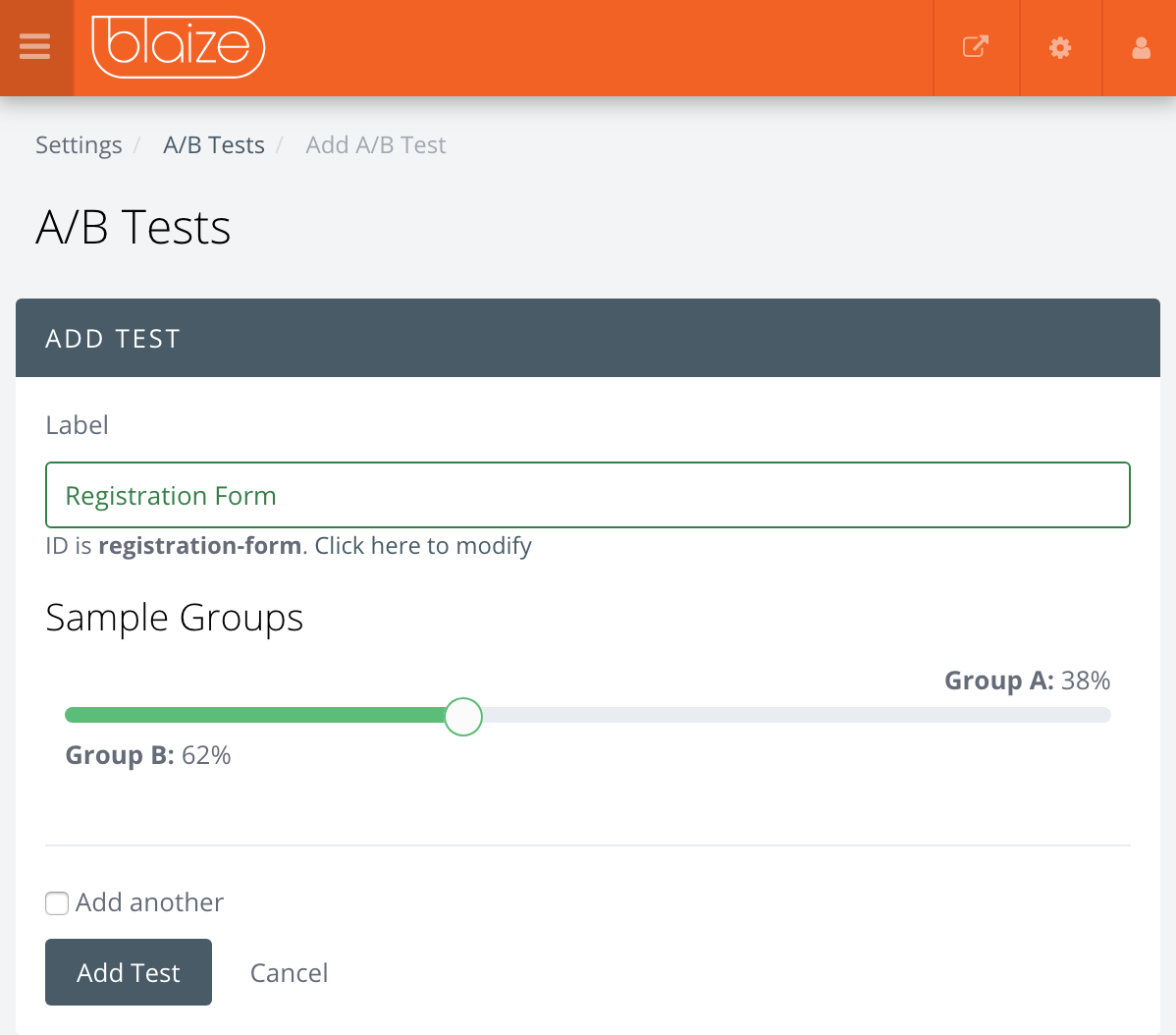 Set Up Screen for an A/B Test