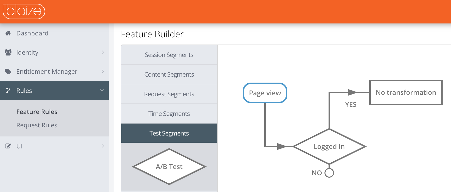 Selecting a test segment in the rules builder