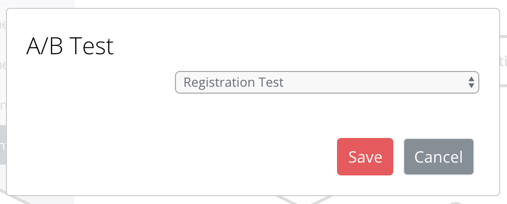 Screen for selecting an A/B test within a rule