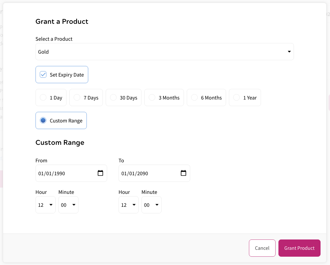 User Details - Product Grants
