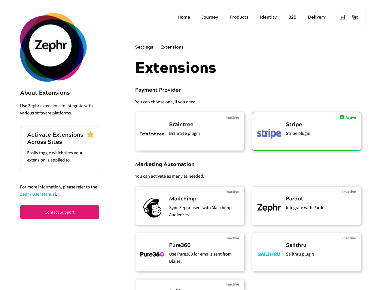 Zephr's Extensions Screen
