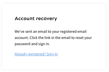 Account Recovery Message