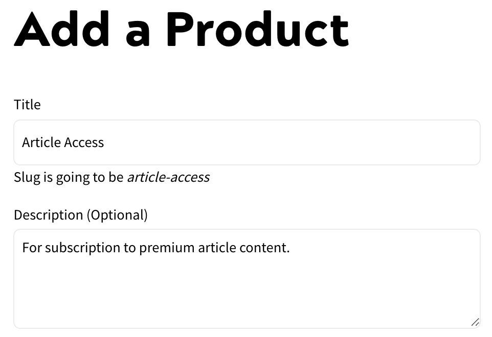 Adding a Product - Add Product Screen