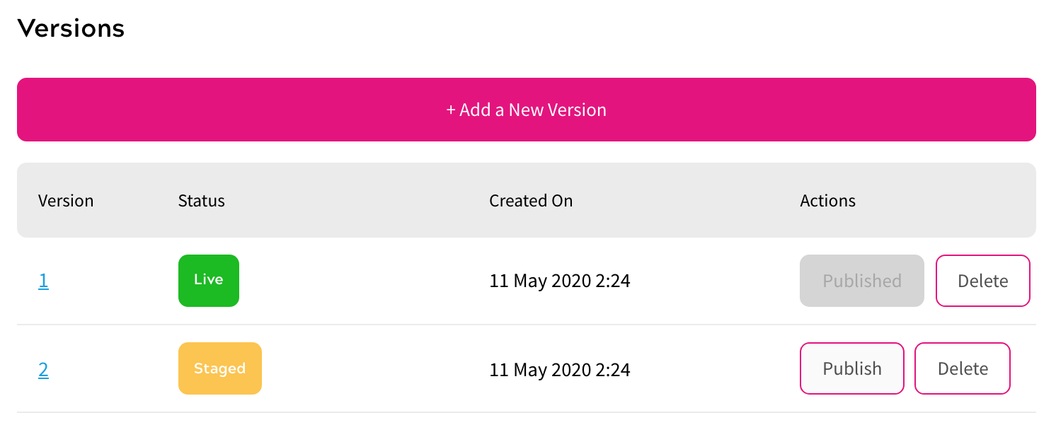 Redirect Rules - Versioning