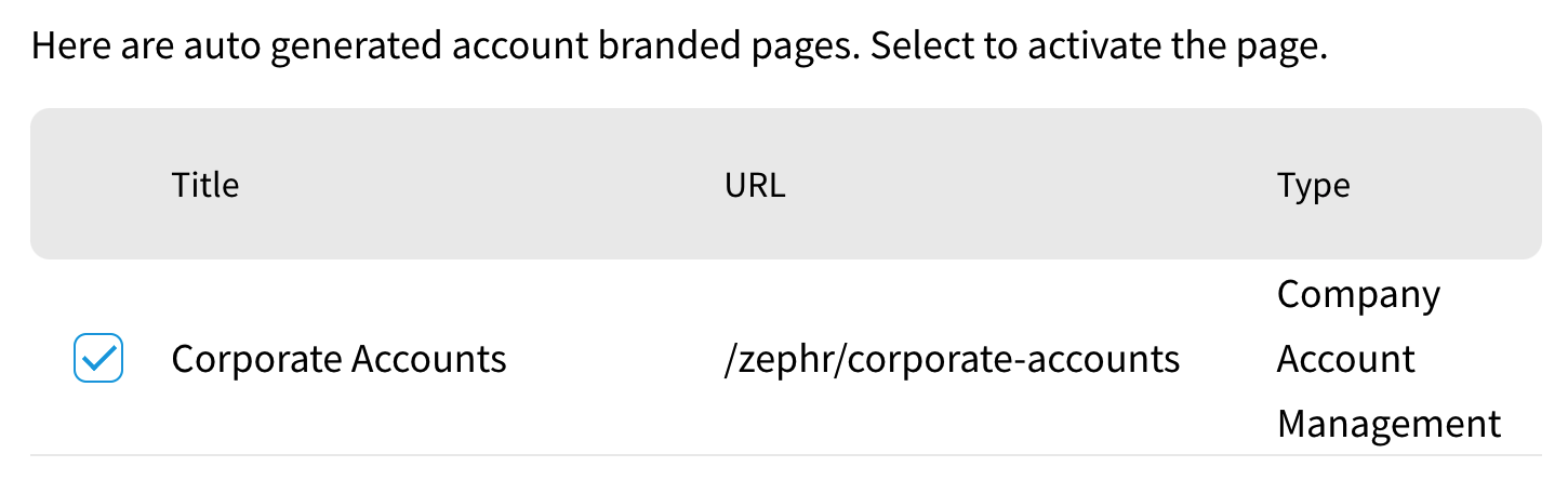 Pages - Selecting an Account Branded Page