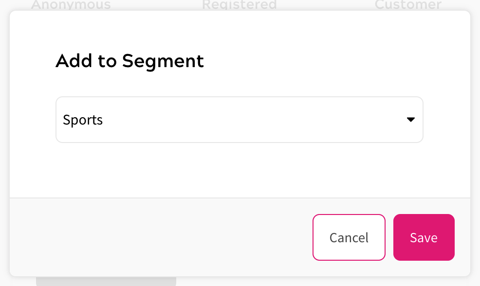 User Segments - Add to Segment - Detailed View