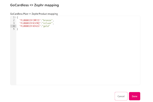 GoCardless - Zephr Mapping
